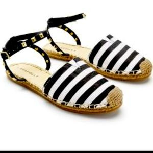 Seafolly Layla Sling Back Espadrille Flat Stripe Sandals Black and White